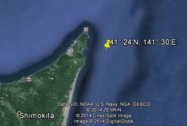 Approximate location of USS Pompano