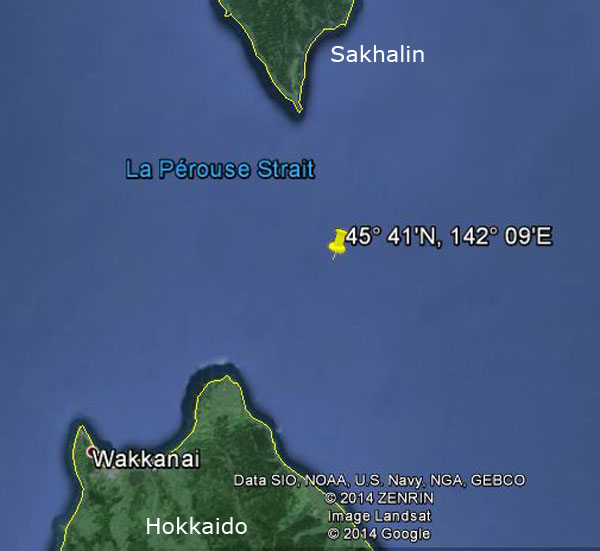 Approximate location of USS Wahoo